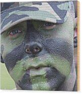 U.s. Army Soldier Wearing Camouflage Wood Print by Stocktrek Images