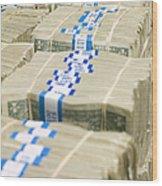 Us Dollar Bills In Bundles Wood Print by Adam Crowley
