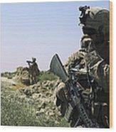 U.s. Marine Uses A Radio Wood Print by Stocktrek Images