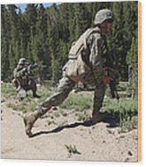 U.s. Marines Training At The Mountain Wood Print by Stocktrek Images