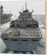 Usns Supply Conducts A Replenishment Wood Print by Stocktrek Images