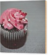 Valentines Cupcake Wood Print by Malania Hammer