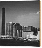 Victoria Harbour View Of Kowloon Tsim Sha Tsui Skyline Including Star Ferry Terminal Hong Kong Wood Print by Joe Fox