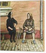 Village Gossip Wood Print by Linda Nielsen
