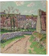 Village In Clohars Wood Print by Henry Moret