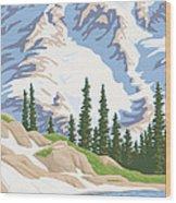 Vintage Mount Rainier Travel Poster Wood Print by Mitch Frey