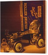 Vintage Roller Skates Wood Print by Jerry Taliaferro