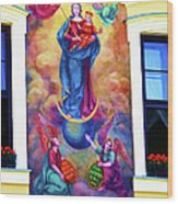 Virgin Mary Mural Wood Print by Mariola Bitner