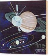 Voyager Saturn Flyby Artwork Wood Print by Science Source