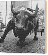 Wall Street Bull Bw8 Wood Print by Scott Kelley