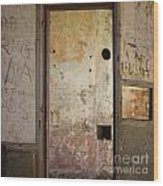 Walls With Graffiti In An Abandoned House. Wood Print by Bernard Jaubert
