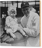 Walter Johnson Holding A Baby - C 1924 Wood Print by International  Images
