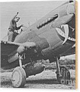 Warhawk P40 1943 Wood Print by Padre Art