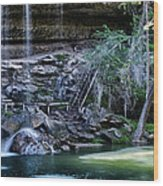 Water And Lights At Hamilton Pool Wood Print by Lisa  Spencer