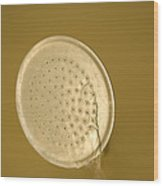 Water Drips From Shower Head Wood Print by Joel Sartore