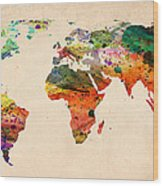 Watercolor World Map  Wood Print by Mark Ashkenazi