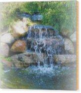 Waterfall Wood Print by Rebecca Frank