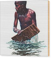 Wave Rider Wood Print by Gregory Jules