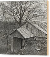 Weathered Hillside Barn Wood Print by John Stephens