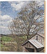Weathered Hillside Barn Spring Wood Print by John Stephens
