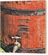 Weathered Red Oil Bucket Wood Print by Paul Ward