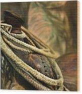 Western Style Saddle And Cowboy Wood Print by Melinda Moore