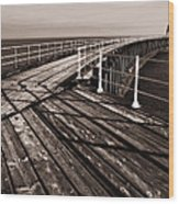 Whitby Pier  Wood Print by Stephen  Wakefield
