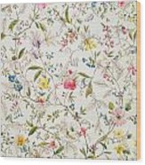 Wild Flowers Design For Silk Material Wood Print by William Kilburn