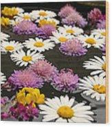 Wildflowers On Water Wood Print by Emanuel Tanjala