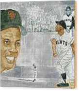Willie Mays - The Greatest Wood Print by George  Brooks