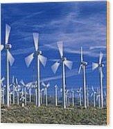 Wind Turbines, California, Usa Wood Print by David Nunuk