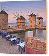 Windmills 2  Wood Print by Emmanuel Panagiotakis