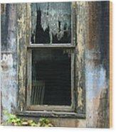 Window In Old Wall Wood Print by Jill Battaglia