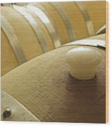 Wine Barrel Detail In Cellar At Winery Wood Print by James Forte