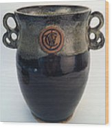 Wine Chiller Or Vase With Licorice And Light Beige Glaze  Wood Print by Carolyn Coffey Wallace