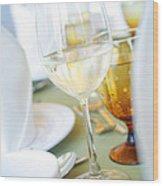 Wineglass Wood Print by Atiketta Sangasaeng