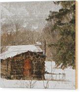 Winter Cabin 2 Wood Print by Ernie Echols