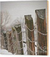 Winter Fence Wood Print by Sandra Cunningham