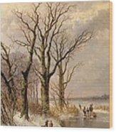 Winter Landscape With Faggot Gatherers Conversing On A Frozen Lake Wood Print by Josephus Gerardus Hans