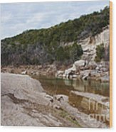 Winter River Wood Print by Lisa Holmgreen