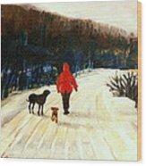 Winter Road Quebec Laurentian Landscape Wood Print by Carole Spandau