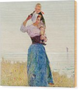 Woman And Child In A Meadow Wood Print by Hector Caffieri
