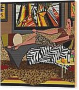 Woman On A Chaise Lounge Wood Print by Jann Paxton