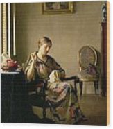 Woman Sewing Wood Print by William McGregor Paxton