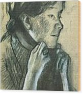 Woman Tying The Ribbons Of Her Hat Wood Print by Edgar Degas