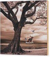 Woodland Swing Wood Print by Sharon Lisa Clarke