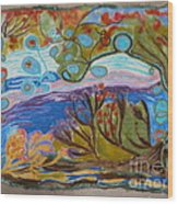 Woolscape Wood Print by Heather Hennick