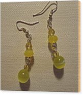 Yellow Ball Drop Earrings Wood Print by Jenna Green