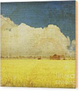 Yellow Field Wood Print by Setsiri Silapasuwanchai