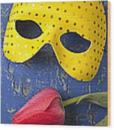 Yellow Mask And Red Tulip Wood Print by Garry Gay